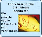 Verify your here for the Orbit Media Certificate..